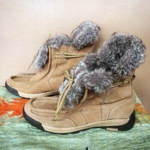Lands End brown suede faux fur winter boots 9.5
